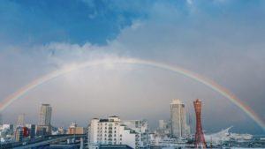 【虹】神戸を包み込む大きな虹が出現
